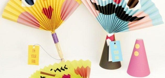 كيف تصنع مروحة ورقية ملونة