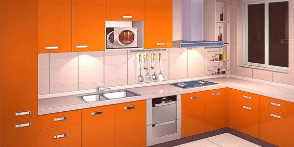 مطابخ باللون البرتقالى